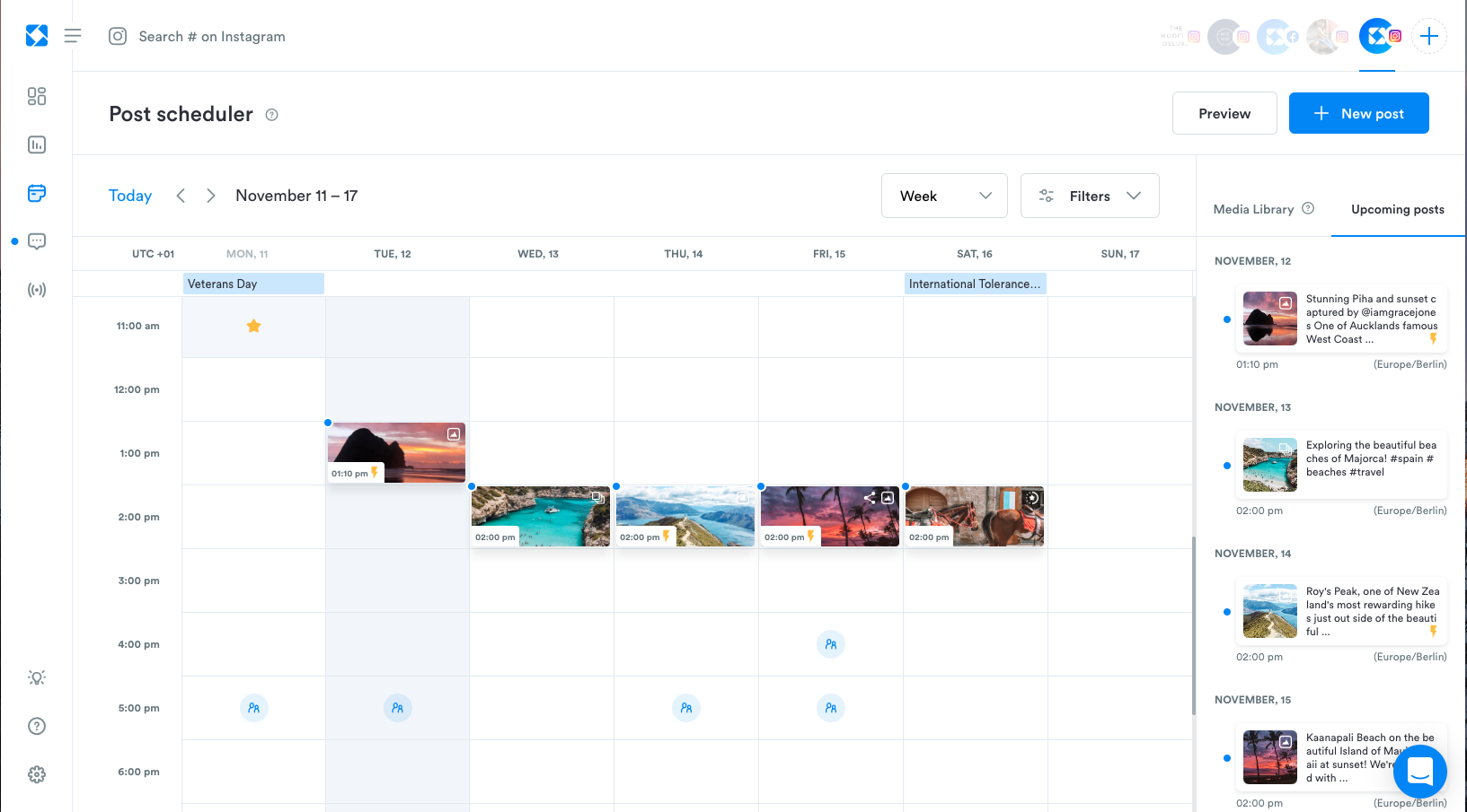 Schedule posts on Instagram, Facebook and Twitter - including Carousel and Stories posts for Instagram. Cross post to multiple profiles. Automatic scheduling available.