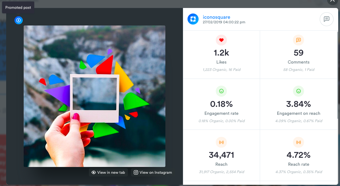 Users on the Advanced and Agency plans have access to Promoted Post Analytics for Instagram, Facebook, Twitter and Linkedin posts within the Media Viewer or the Analytics overview.