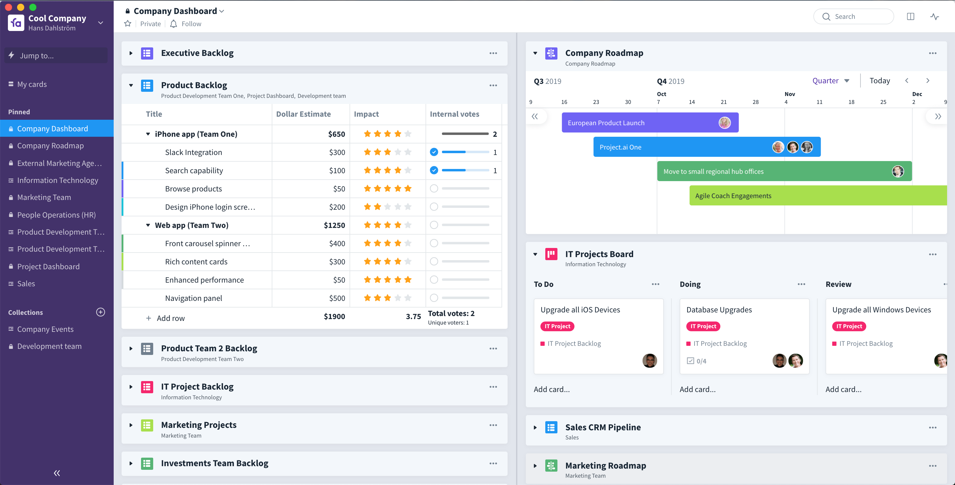 Favro alone lets you scale from a single team to teams-of-teams and beyond with overview and alignment dashboard collections.