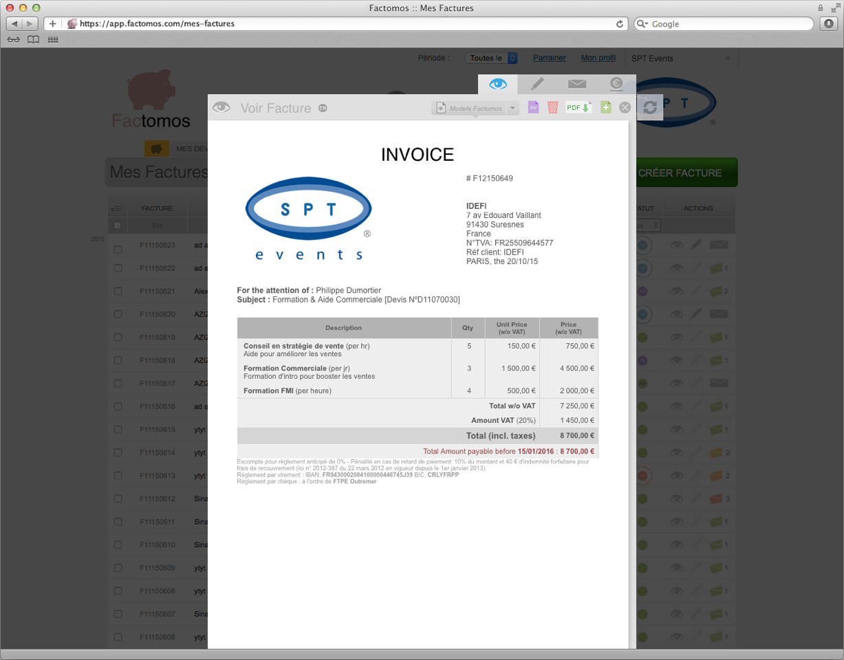 Factomos: Secure Sockets Layer (SSL) Automatic management of VAT, management / O